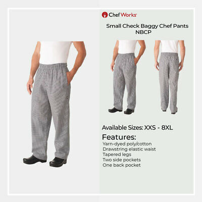 Chef Works Mens Check Baggy Chef Pant Hospitality Uniform Chefs Trousers XXS-8XL