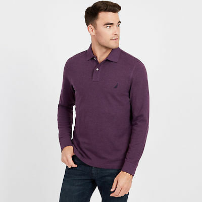 Nautica Mens Long Sleeve Solid Classic Fit Pique Polo