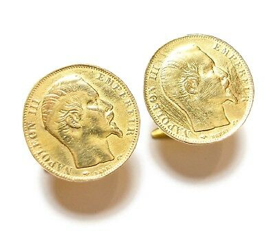 Pair Of Beautiful Old Antique Edwardian Faux French Coin Cufflinks Links (A12)