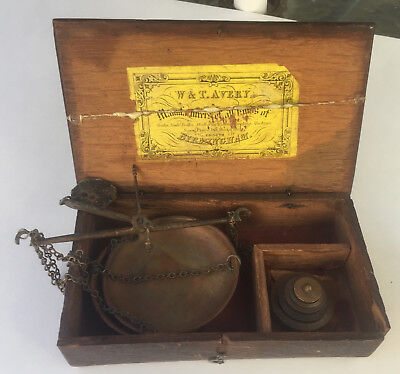 Antique Avery Gold or Apothecary Scale w/ Troy Ounce Nesting Weights