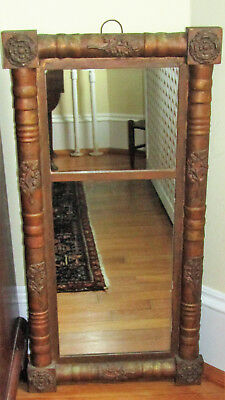 "Antique Empire American Federal Mirror Wood 32"" x 16"" Rosettes & Vine Elements"