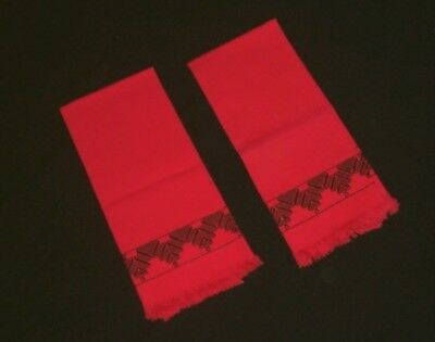 2 Vintage Unused New Linen Huck Red w/Black Swedish Embroidered Fringed Towels