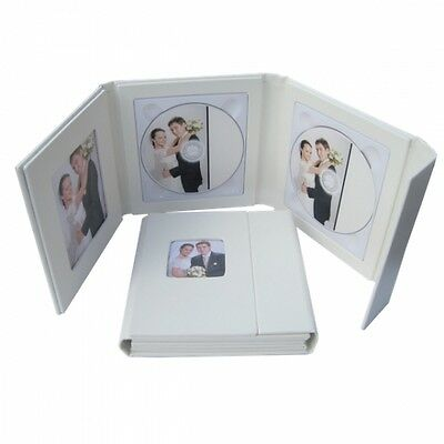Deluxe Ivory Photo Double Faux Leather DVD Case Ideal For Weddings Discs ETC