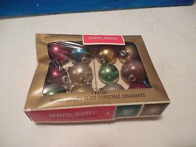 Vintage SHINY BRITE 12 Glass Christmas Ornaments Assorted Colors