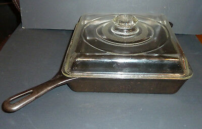 Griswold No. 768 Cast Iron Square-Fry Skillet W/Glass Lid