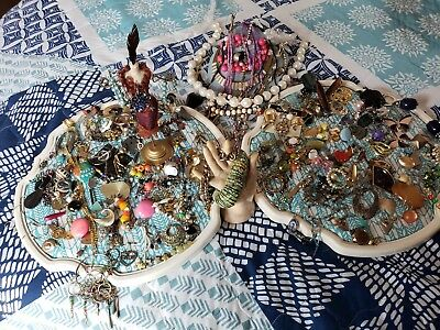 Vintage Antique SINGLE & PARE EARRINGS Jewelry LOT. Not Tested 2+ Lb. BOGOFF