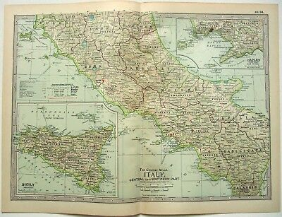 Original 1902 Map of Central & Southern Italy - A Nicely Detailed Lithograph