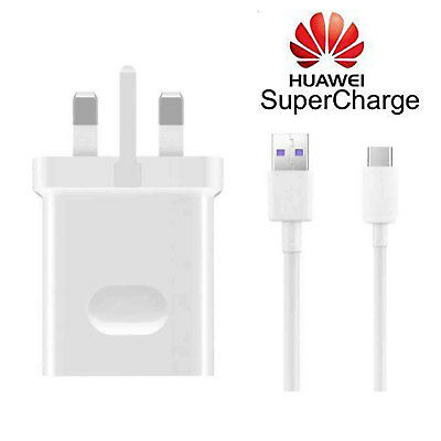 Genuine Huawei SuperCharge 4.5A Mains Charger Adapter + 5A Type C USB Cable NEW