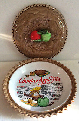 "Ceramic 11"" Country Apple Pie Dish with Recipe And Matching Lid"