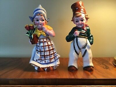 Vintage Dutch Boy and Girl with Flowers