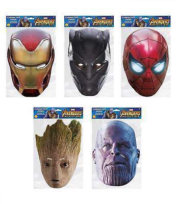 Avengers Infinity War Marvel 2D Card Party Face Mask Variety 5 Pack Superheroes