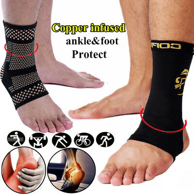 Compression Ankle Support Brace Sleeve Copper Foot Socks Arch Plantar Relief Gym