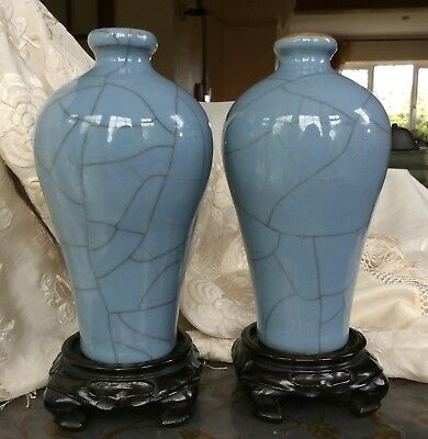 Chinese Pair Porcelain Meiping Guan Vases + Stands Blue Grey Crackle Glaze