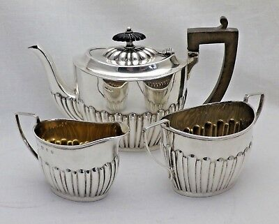 Antique Victorian Solid Silver Bachelor's Tea Service Teapot Sugar & Cream Jug