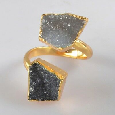 Size 7.75 Natural & Black Agate Druzy Geode Adjustable Ring Gold Plated B071310