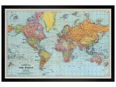 Black Wooden Framed Stanfords General Map Of The World Colour Poster 61x91.5cm