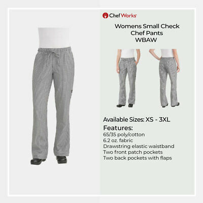 Chef Works Womens Check Baggy Chef Pant Hospitality Uniform Chefs Trousers