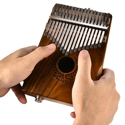 17 Keys EQ Kalimba Solid Acacia Thumb Piano Link Speaker Electric Pickup Durable