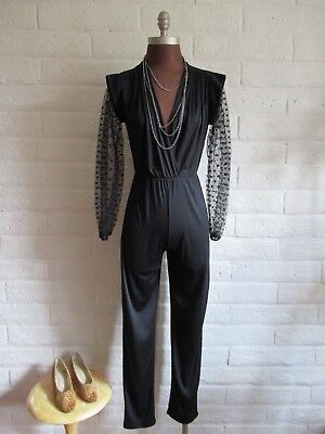 Vintage 70s 80s Black Jumpsuit with Lace Long Sleeve Holiday Glam Disco XS SM