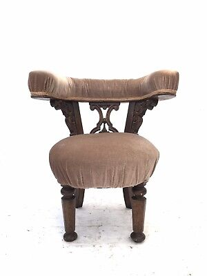 Antique 19th Century Solid Oak Library Chair Rustic Reading Parlour Armchair