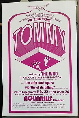 """The Who Tommy Aquarius Theater Hollywood ORIGINAL 1972 8.5"""" x 5.5"""" FLYER"""