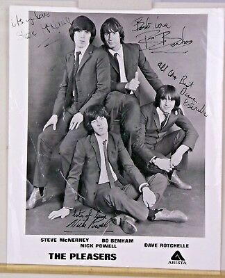 "The Pleasers Pop Band B&W Signed Photo 1978 10"" x 8"" NOT Beatles Stones Who Punk"