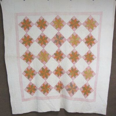 Green Cheddar! c 1860s Stars ANTIQUE Quilt Beautiful Quilting