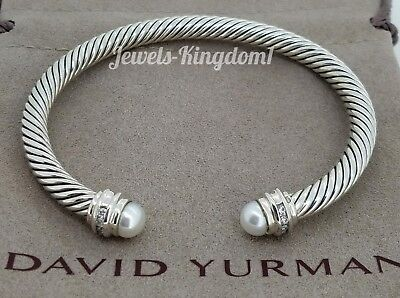 David Yurman Silver Cable Classics Bracelet With Pearl And Diamonds