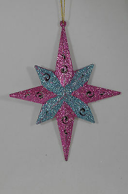 Glittered Pink and Blue Starburst Christmas Tree Ornament new holiday