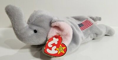 """RARE! TY Beanie Babies """"RIGHTY"""" REPUBLICAN ELEPHANT - CT - RETIRED! Please Read!"""