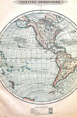 Antique Map of WESTERN HEMISPHERE Greenland North South America 1883 Matted