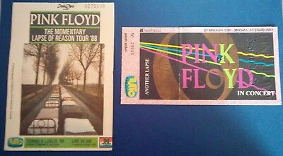 2 Biglietti Ticket PINK FLOYD The Momentary lapse of reason 88 + Another Laps 89