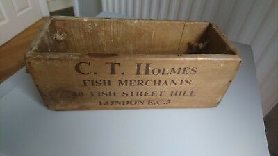Vintage antiqued wooden box, crate, trug, small fish box, mackerel