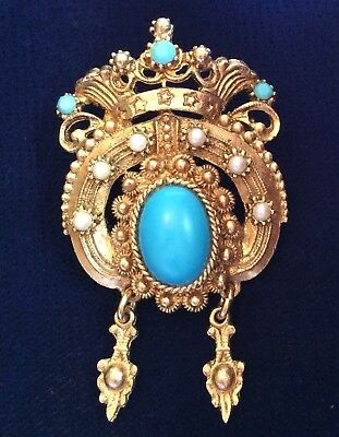 Gorgeous Vtg Gold Tone Turquoise Color, Faux Pearl Bead Crown Crest Pin Brooch