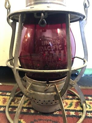 Antique Dietz No. 99 Red Glass Etched Union Pacific Overland Route Railroad Lamp