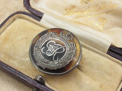 Vintage Antique WW1 Sterling Silver 925 & Tortoise Shell Royal Engineers Badge