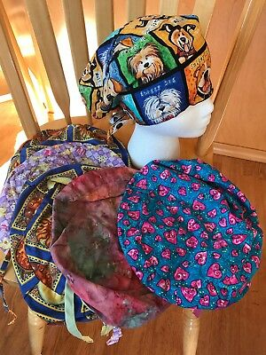 Surgical Scrub Hats OR Nurse Caps Lot Of 6 EUC! ~ Ties In Back