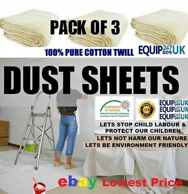 3 x NEW PROFESSIONAL COTTON DUST SHEETS PAINTING DECORATING ( 6/3 - 3  PACK )