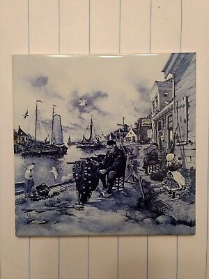 Vintage Dutch Blue Delft Royal Mosa Holland 6x6 Tile Fisherman with net