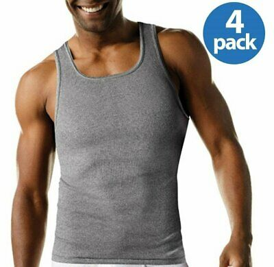 df1571f58bb1d Men s Hanes 4Pk Color A-shirt Tagless Undershirt Tank Top Wife Beater Size  ...
