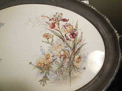 Antique Tray Art Pottery With Metal Rim Hand Painted Iris N/R