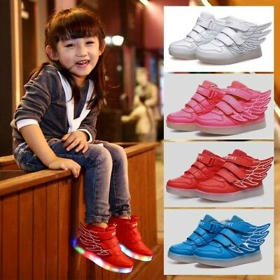 AU Boys Girls 7 Color LED Light Up Luminous Shoes Casual Sneakers Children Kids
