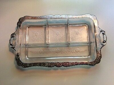 Heavy Crystal Condiment Tray Etched Glass Four Section 13 X 8 Tray