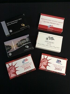 7) United States Mint Silver Proof Sets, Various Years, In Mint Box