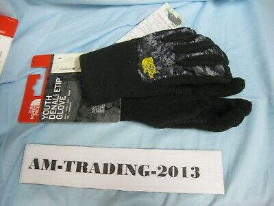 NWT The North Face Youth Large Denali Etip Gloves Black/Gray