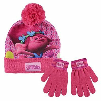 Trolls Hat And Gloves Set Girls 2 Piece Thermal Winter Set, 4 to 8 Years