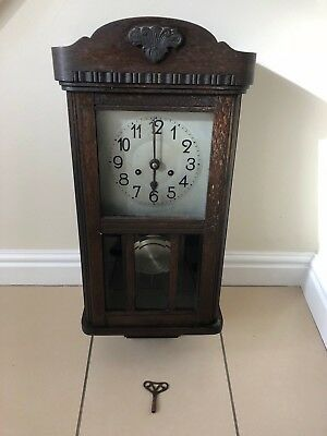 Large Vintage Wooden Pendulum Wall Clock & Key For Restoring