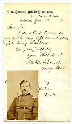 Super Maj. Genl. Robt C. Schenck 1863 ALS: WITH HIS LEFT HAND on Army Stationery