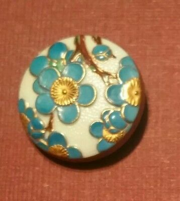 Vintage Japanese Hand Painted Arita Cherry Blossom Button