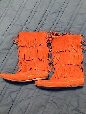 Women's Minnetonka 3 layer leather moccasin boots size 10 native american shoes
